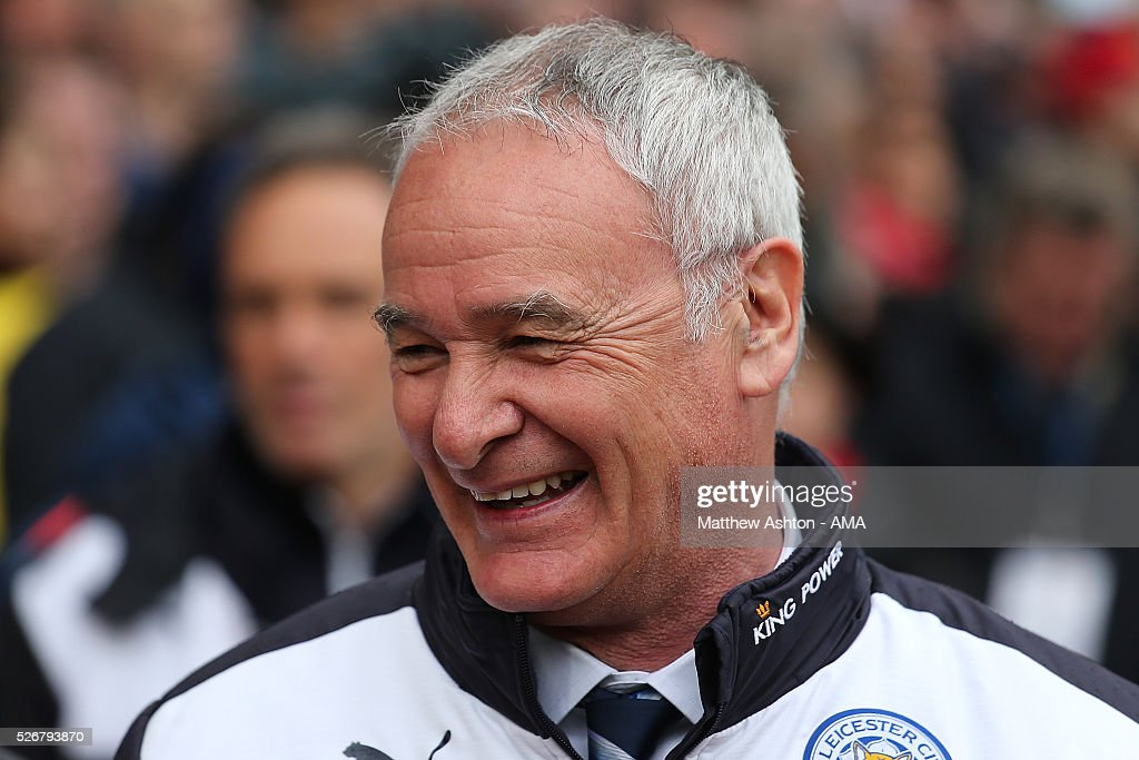 Leicester City Manager Claudio Rainieri reacts prior to the Barclays Premier League match between Manchester United and Leicester City at Old Trafford on May 1, 2016 in Manchester, United Kingdom.