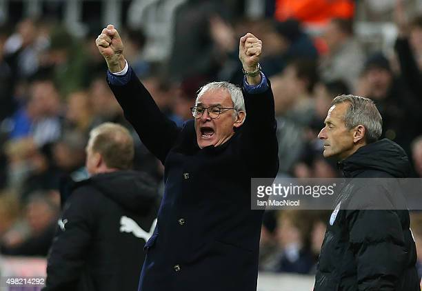 Leicester City manager Claudio Ranieri celebrates his teams second goal during the Barclays Premier League match between Newcastle and Leicester City...