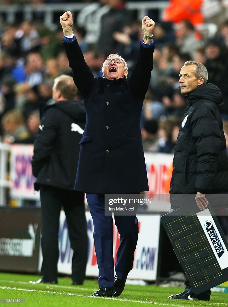 Leicester City manager Claudio Ranieri celebrates his teams second goal during the Barclays Premier League match between Newcastle and Leicester City at St James Park on November 21, 2015 in Newcastle, England.