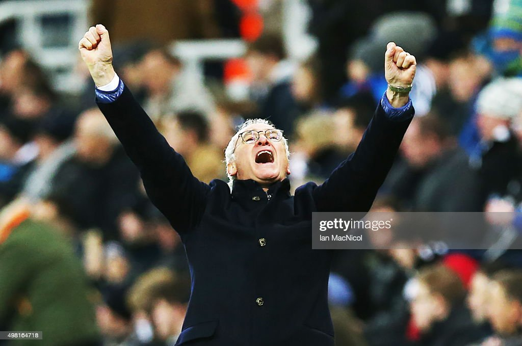 Leicester City manager Claudio Ranieri celebrates his teams third goal during the Barclays Premier League match between Newcastle and Leicester City at St James Park on November 21, 2015 in Newcastle, England.