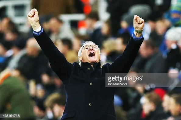 Leicester City manager Claudio Ranieri celebrates his teams third goal during the Barclays Premier League match between Newcastle and Leicester City...