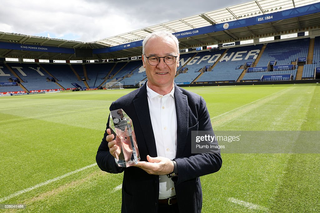 Leicester City manager Claudio Ranieri collects the LMA team performance award for his teams display against Swansea City during the Leicester City press conference at King Power Stadium on April 29th , 2016 in Leicester, United Kingdom.