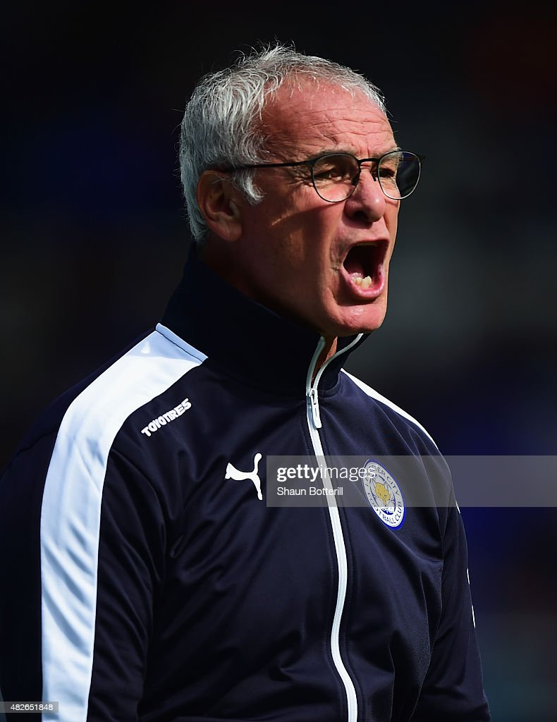 Leicester City manager <a gi-track='captionPersonalityLinkClicked' href=/galleries/search?phrase=Claudio+Ranieri&family=editorial&specificpeople=204468 ng-click='$event.stopPropagation()'>Claudio Ranieri</a> during the Pre-Season Friendly match between Birmingham City and Leicester City at St Andrews (stadium) on August 1, 2015 in Birmingham, England.