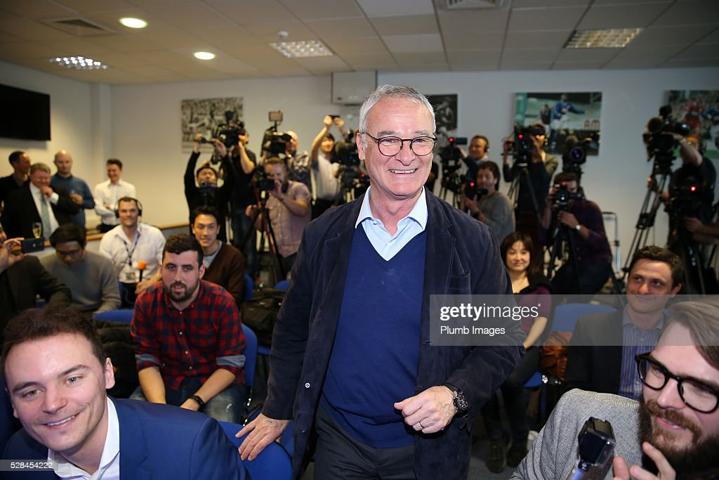 Leicester City manager <a gi-track='captionPersonalityLinkClicked' href=/galleries/search?phrase=Claudio+Ranieri&family=editorial&specificpeople=204468 ng-click='$event.stopPropagation()'>Claudio Ranieri</a> greets the media during the Leicester City press conference at King Power Stadium on May 5, 2016 in Leicester, United Kingdom.