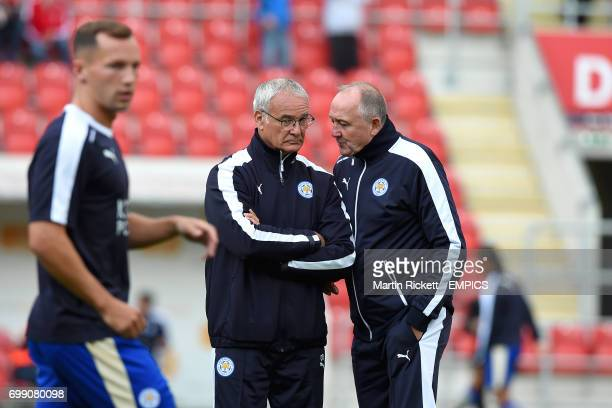 Leicester City manager Claudio Ranieri in conversation with assistant manager Steve Walsh during the warmup