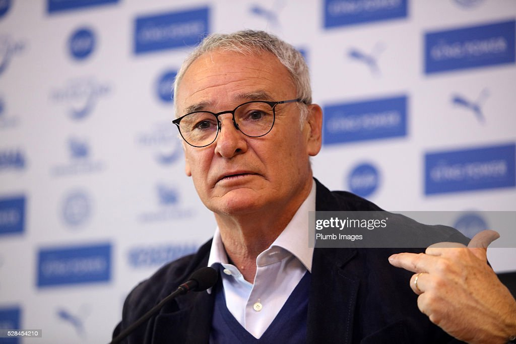 Leicester City manager <a gi-track='captionPersonalityLinkClicked' href=/galleries/search?phrase=Claudio+Ranieri&family=editorial&specificpeople=204468 ng-click='$event.stopPropagation()'>Claudio Ranieri</a> looks on during a press during the Leicester City press conference at King Power Stadium on May 5, 2016 in Leicester, United Kingdom.