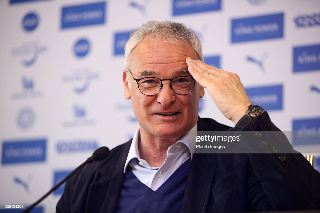 Leicester City manager Claudio Ranieri looks on during a press during the Leicester City press conference at King Power Stadium on May 5, 2016 in Leicester, United Kingdom.