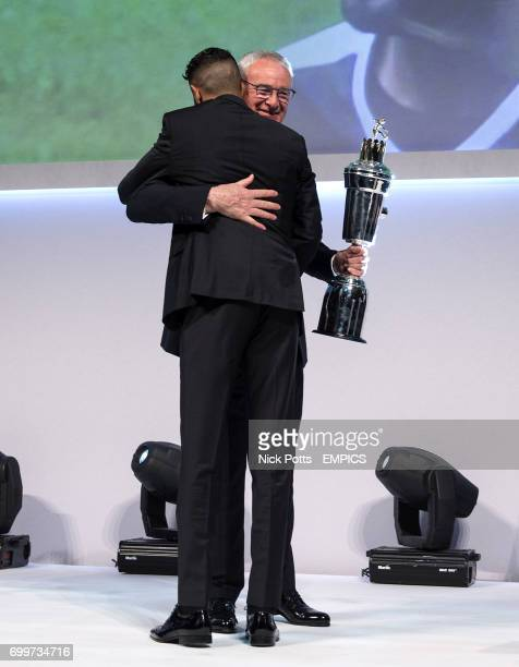 Leicester City manager Claudio Ranieri presents Leicester City's Riyad Mahrez with the PFA Player of the Year Award 2016
