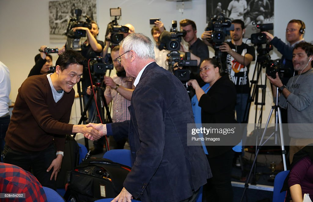 Leicester City manager <a gi-track='captionPersonalityLinkClicked' href=/galleries/search?phrase=Claudio+Ranieri&family=editorial&specificpeople=204468 ng-click='$event.stopPropagation()'>Claudio Ranieri</a> shakes hands with the media during the Leicester City press conference at King Power Stadium on May 5, 2016 in Leicester, United Kingdom.