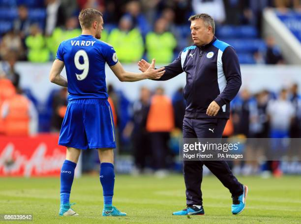 Leicester City manager Craig Shakespeare shake hands with Jamie Vardy after the Premier League match at the King Power Stadium Leicester
