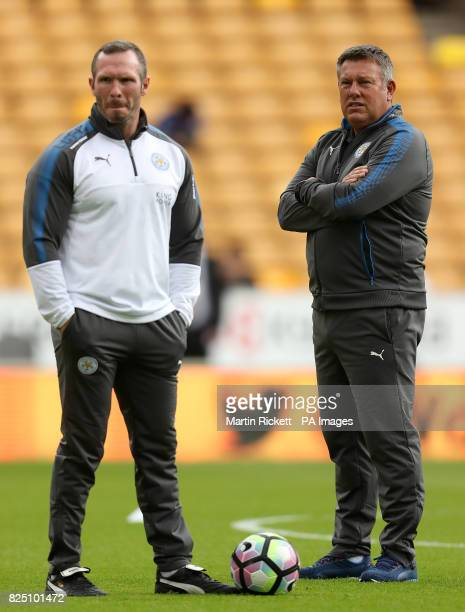 Leicester City manager Craig Shakespeare with his assistant Michael Appleton before the preseason match at Molineux Wolverhampton