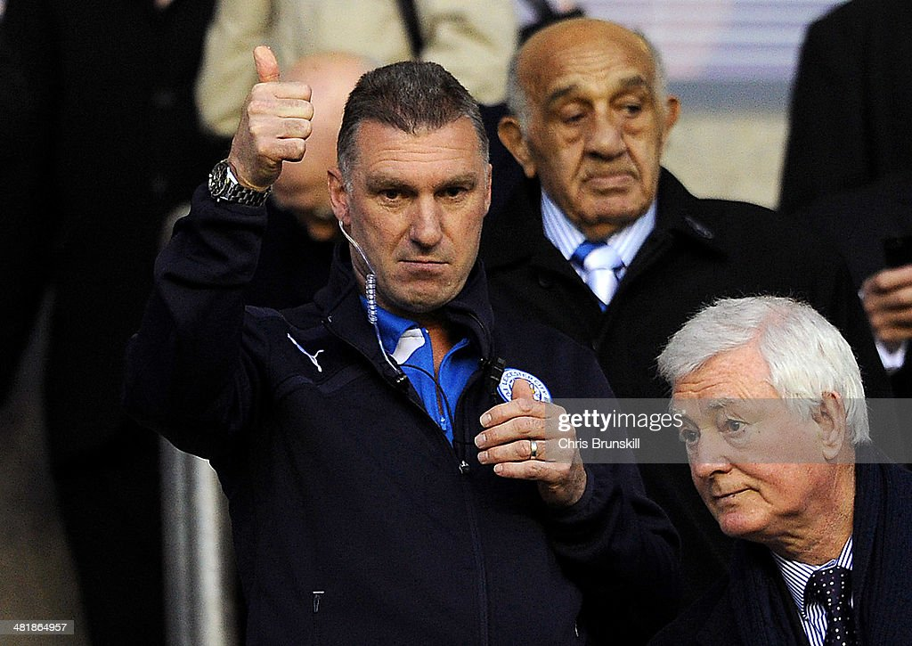 Leicester City manager Neil Pearson gives the thumbs up during the Sky Bet Championship match between Wigan Athletic and Leicester City at DW Stadium on April 01, 2014 in Wigan, England.
