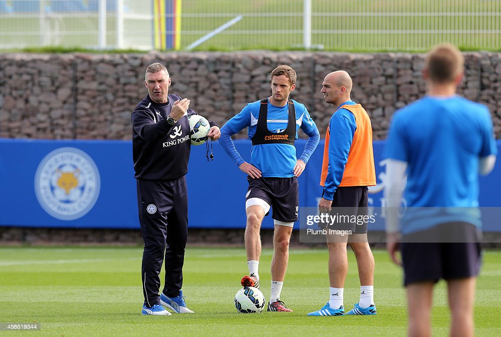 Leicester City manager Nigel Pearson during the Leicester City training session at Belvoir Drive Training Ground on October 2, 2014 in Leicester, England.