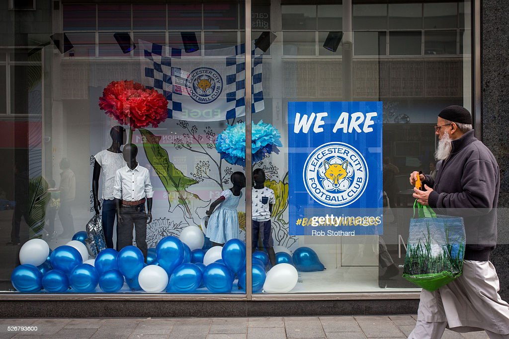 Leicester City merchendise for sale in the city centre on May 1st, 2016 in Leicester, England. Leicester City can win the Premier League title today if they beat Manchester United away at Old Trafford in what would be one of the league's most surprising and memoriable moments.