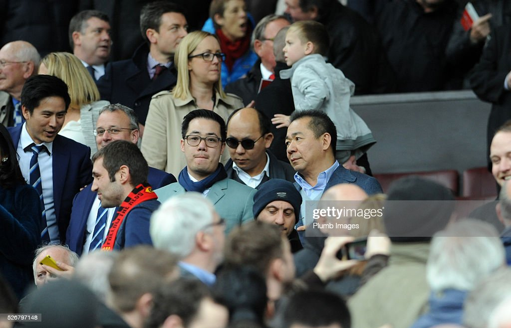 Leicester City owners Vichai Srivaddhanaprabha and Aiyawatt Srivaddhanaprabha during the Premier League match between Manchester United and Leicester City at Old Trafford on May 01, 2016 in Manchester, United Kingdom.
