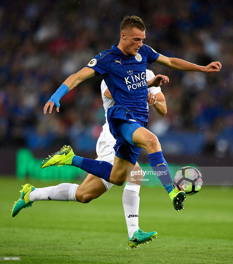 Leicester City player Jamie Vardy controls the ball before scoring the opening goal during the Premier League match between Leicester City and Swansea City at The King Power Stadium on August 27, 2016 in Leicester, England.