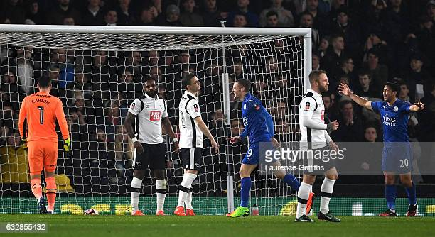 Leicester City players celebrate after Darren Bent of Derby County scores an own goal during The Emirates FA Cup Fourth Round match between Derby...