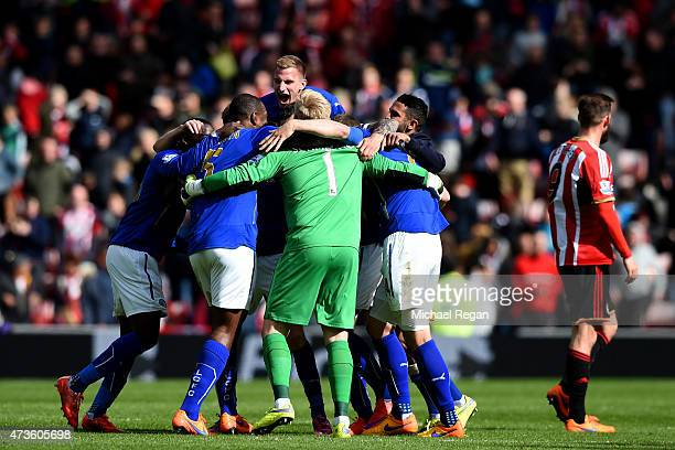Leicester City players celebrate avoiding relegation during the Barclays Premier League match between Sunderland and Leicester City at Stadium of...