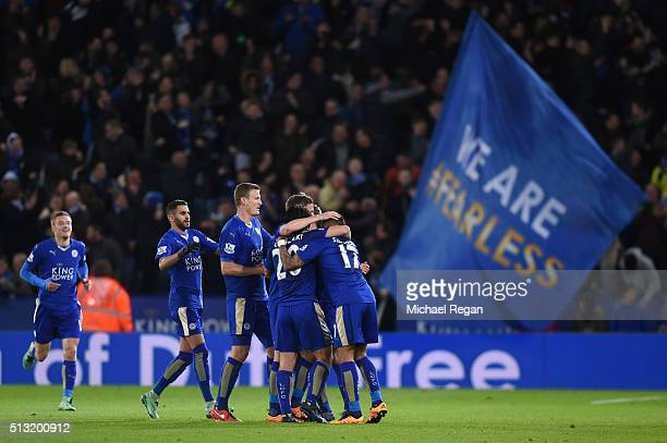 Leicester City players celebrate their team's first goal during the Barclays Premier League match between Leicester City and West Bromwich Albion at...
