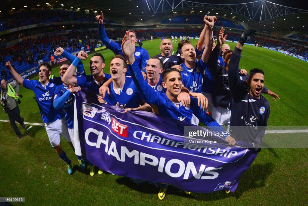 Leicester City players celebrate winning the Championship after the Sky Bet Championship match between Bolton Wanderers and Leicester City at Reebok Stadium on April 22, 2014 in Bolton, England.