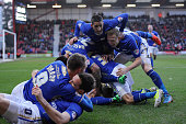 Leicester City players congratulate Kevin Phillips after scoring a goal during the Sky Bet Championship match between Bournemouth and Leicester City...