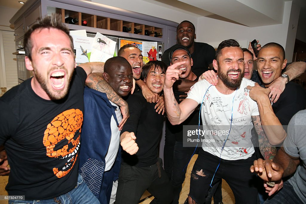 Leicester City players gather at Jamie Vardy's house to watch title rivals on May 2, 2016 in Leicester, United Kingdom.
