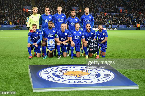 Leicester City players line up for the team photos prior to the UEFA Champions League Group G match between Leicester City FC and FC Copenhagen at...