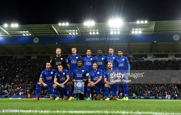 Leicester City players line up prior to the UEFA Champions League Group G match between Leicester City FC and FC Porto at The King Power Stadium on...