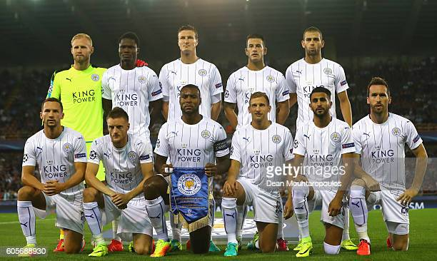 Leicester City players pose for a prematch photograph during the UEFA Champions League match between Club Brugge KV and Leicester City FC at Jan...