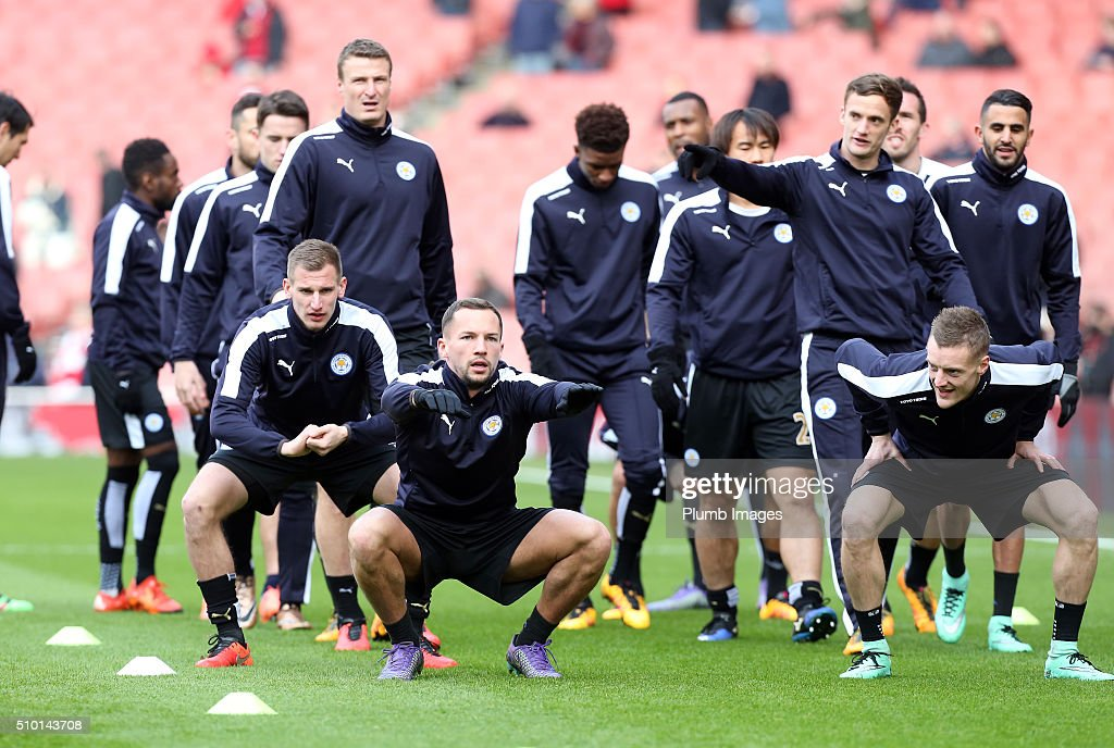 Leicester City players warm up at The Emirates Stadium ahead of the Premier League match between Arsenal and Leicester City at Emirates Stadium on February 14, 2016 in London, United Kingdom.