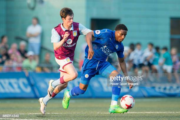 Leicester City 's Joshua Gordon competes with Aston Villa's Harry Mckirdy for a ball during their Main Tournament Cup Final match part of the HKFC...