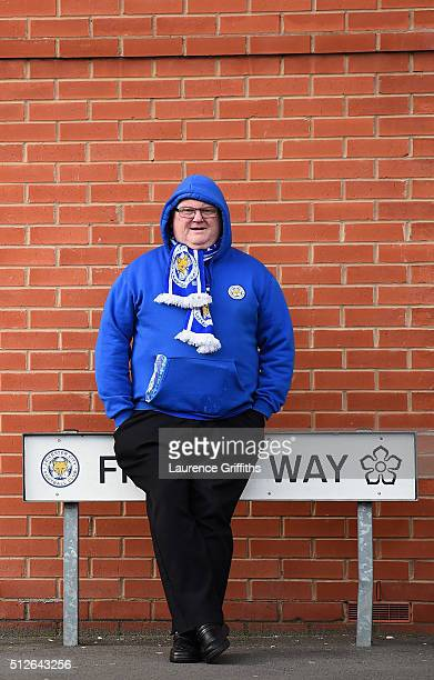 Leicester City supporter waits outside the stadium prior to the Barclays Premier League match between Leicester City and Norwich City at The King...