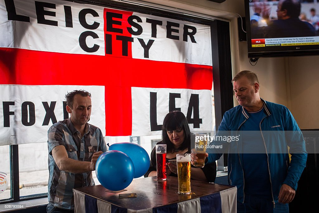 Leicester City supporters gather in The Market Tavern on May 1st, 2016 in Leicester, England. Leicester City can win the Premier League title today if they beat Manchester United away at Old Trafford in what would be one of the league's most surprising and memoriable moments.