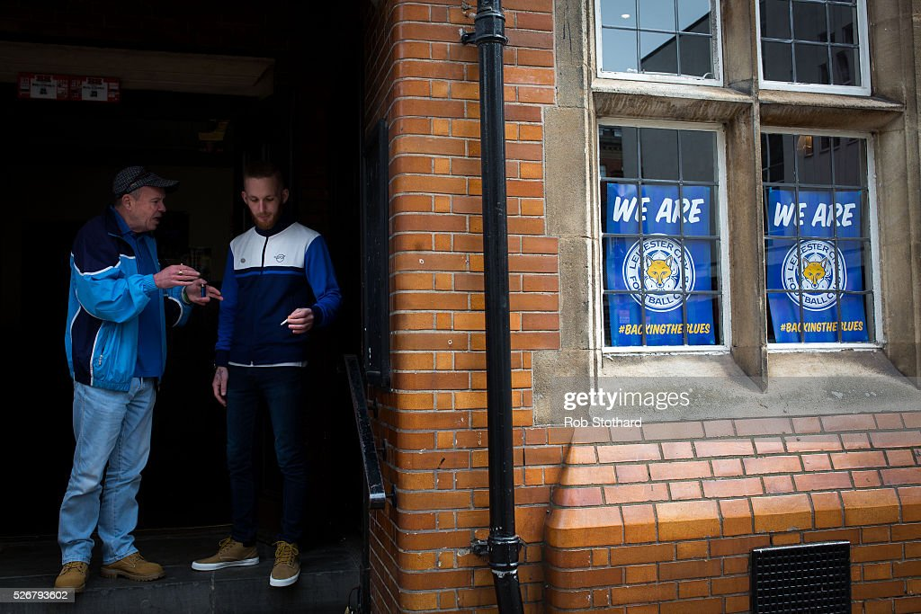 Leicester City supporters gather outside a pub in the city centre on May 1st, 2016 in Leicester, England. Leicester City can win the Premier League title today if they beat Manchester United away at Old Trafford in what would be one of the league's most surprising and memoriable moments.