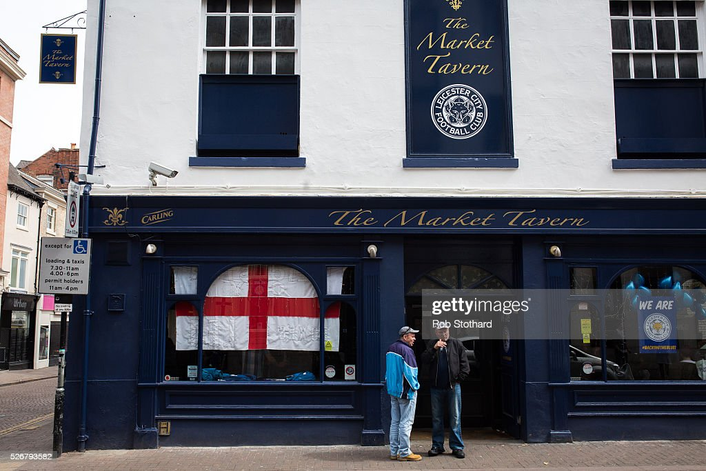 Leicester City supporters gather outside The Market Tavern on May 1st, 2016 in Leicester, England. Leicester City can win the Premier League title today if they beat Manchester United away at Old Trafford in what would be one of the league's most surprising and memoriable moments.