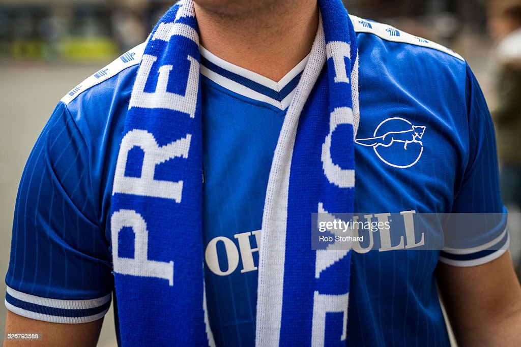 A Leicester City supporters walks through the city centre on May 1st, 2016 in Leicester, England. Leicester City can win the Premier League title today if they beat Manchester United away at Old Trafford in what would be one of the league's most surprising and memoriable moments.