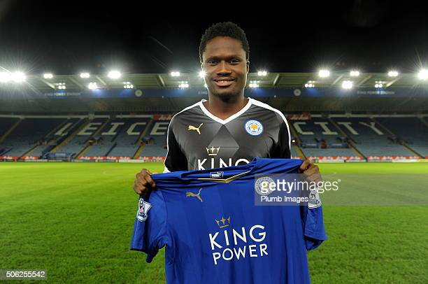 Leicester City unveil New Signing Daniel Amartey at King Power Stadium on January 21 2016 in Leicester United Kingdom