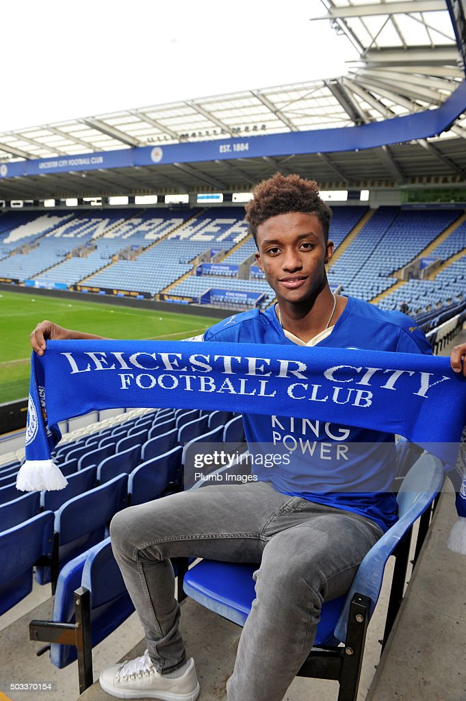 Leicester City unveil new Signing Demarai Gray at King Power Stadium on January 4, 2016 in Leicester, United Kingdom.