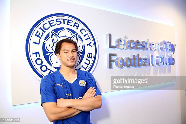 Leicester City unveil their new signing Shinji Okazaki at The King Power Stadium on June 26 2015 in Leicester England