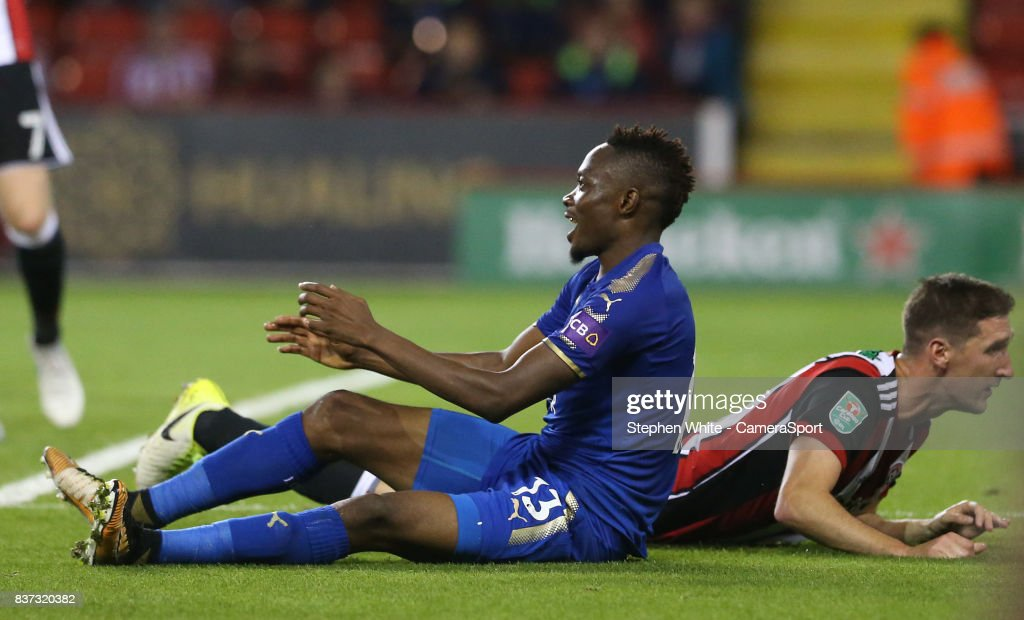 Leicester City's Ahmed Musa celebrates scoring his side's fourth goal during the Carabao Cup Second Round match between Sheffield United and Leicester City at Bramall Lane on August 22, 2017 in Sheffield, England.