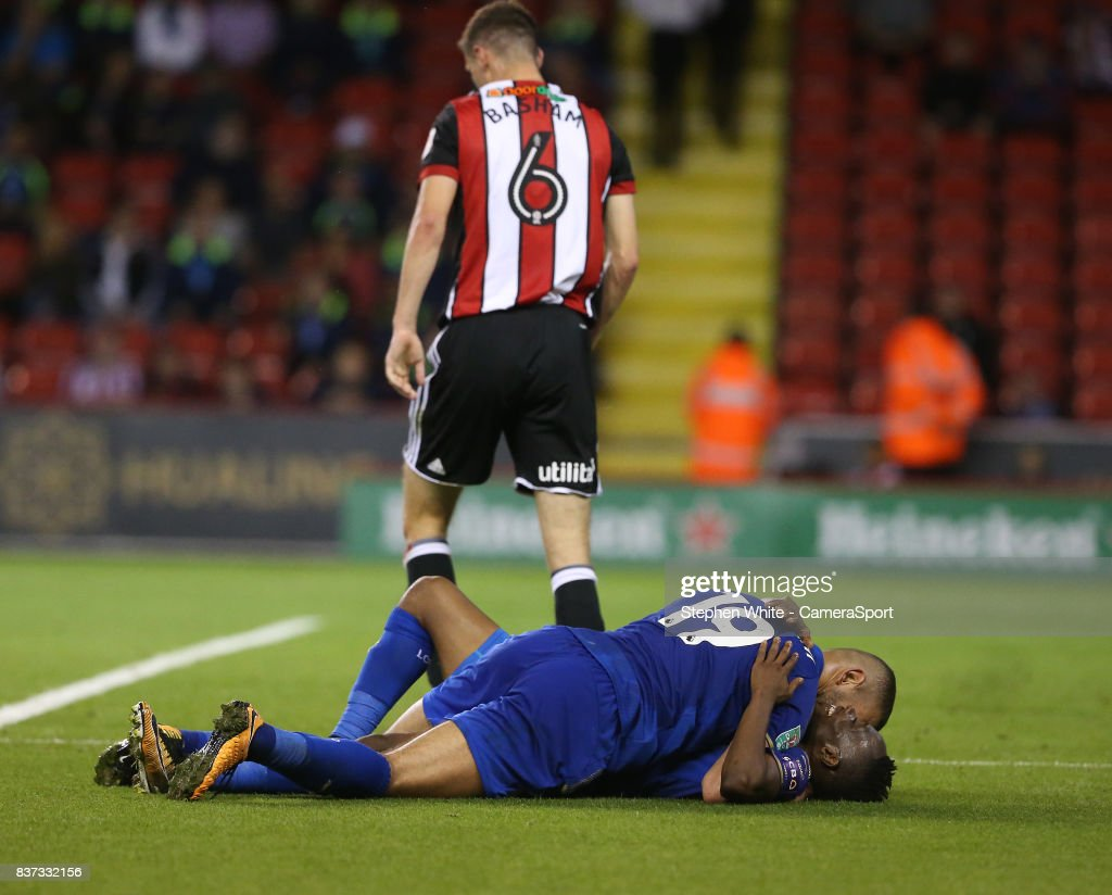 Leicester City's Ahmed Musa celebrates scoring his side's fourth goal with team-mate Islam Slimani during the Carabao Cup Second Round match between Sheffield United and Leicester City at Bramall Lane on August 22, 2017 in Sheffield, England.