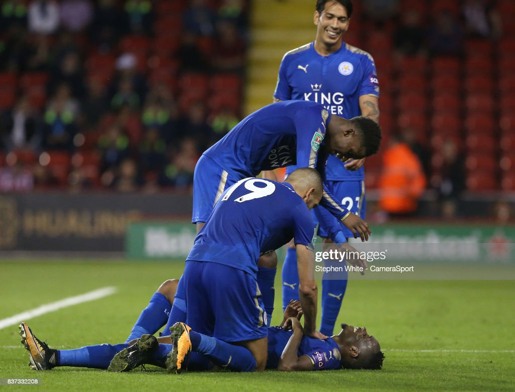 Leicester City's Ahmed Musa (grounded) celebrates scoring his side's fourth goal during the Carabao Cup Second Round match between Sheffield United and Leicester City at Bramall Lane on August 22, 2017 in Sheffield, England.