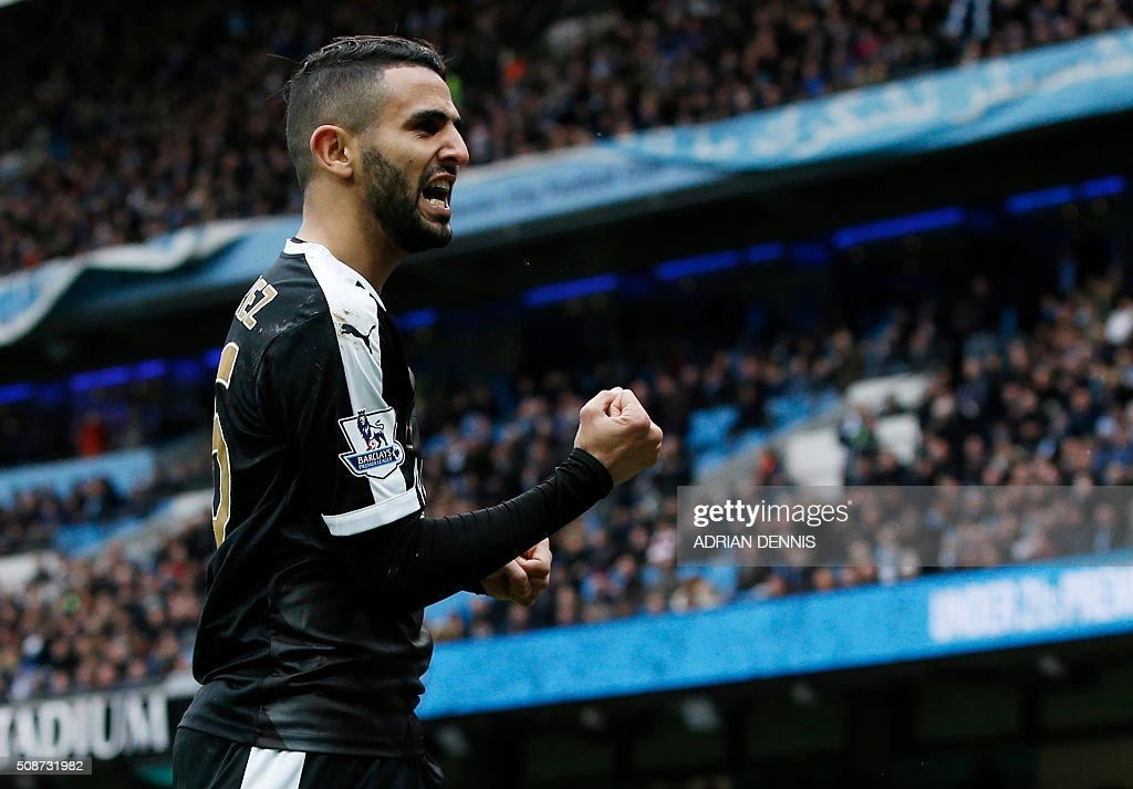 Leicester City's Algerian midfielder Riyad Mahrez celebrates after scoring his team's second goal during the English Premier League football match between Manchester City and Leicester City at the Etihad Stadium in Manchester, north west England, on February 6, 2016. / AFP / ADRIAN DENNIS / RESTRICTED TO EDITORIAL USE. No use with unauthorized audio, video, data, fixture lists, club/league logos or 'live' services. Online in-match use limited to 75 images, no video emulation. No use in betting, games or single club/league/player publications. /