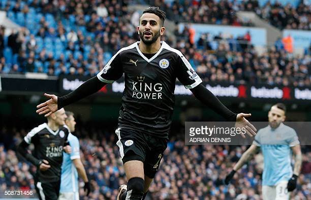 Leicester City's Algerian midfielder Riyad Mahrez celebrates scoring his team's second goal during the English Premier League football match between...