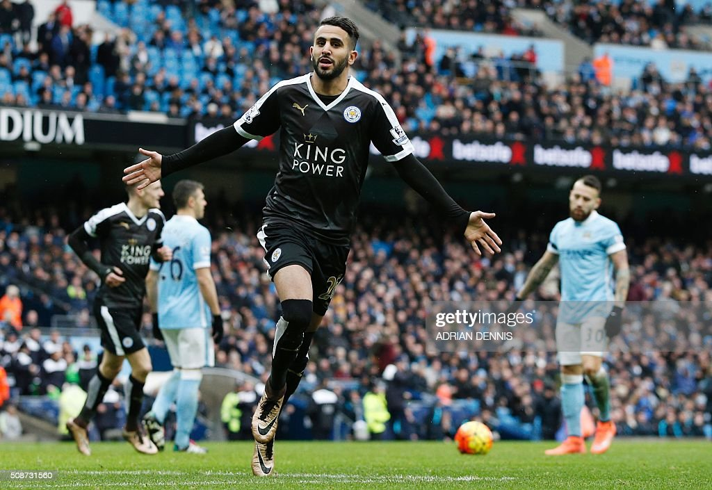 Leicester City's Algerian midfielder Riyad Mahrez celebrates scoring his team's second goal during the English Premier League football match between Manchester City and Leicester City at the Etihad Stadium in Manchester, north west England, on February 6, 2016. / AFP / ADRIAN DENNIS / RESTRICTED TO EDITORIAL USE. No use with unauthorized audio, video, data, fixture lists, club/league logos or 'live' services. Online in-match use limited to 75 images, no video emulation. No use in betting, games or single club/league/player publications. /