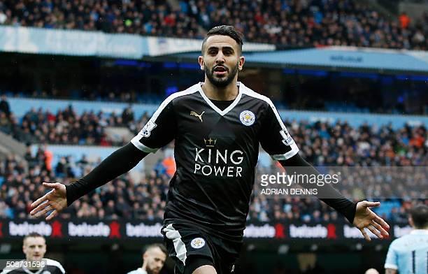 Leicester City's Algerian midfielder Riyad Mahrez celebrates scoring his team's second goal during the English Premier League football match between...