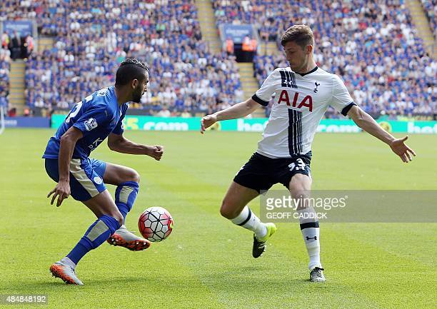 Leicester Citys Algerian midfielder Riyad Mahrez vies for the ball with Tottenham Hotspur's Welsh defender Ben Davies during the English Premier...