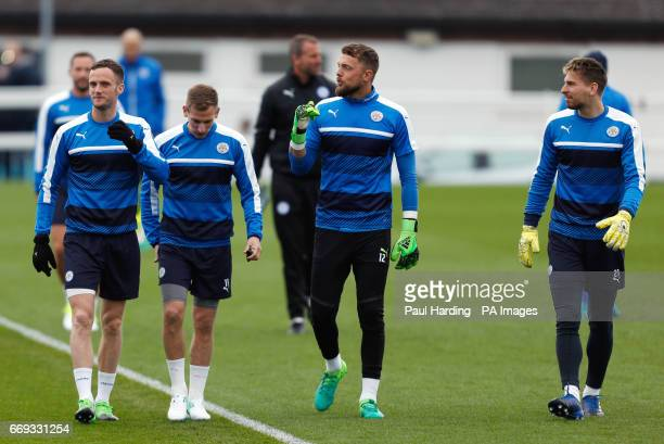Leicester City's Andy King Marc Albrighton Ben Hamer and RonRobert Zieler during the training session at Belvoir Drive Training Ground Leicester