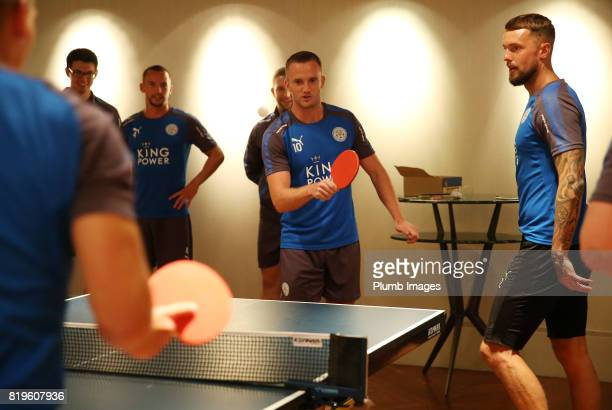 Leicester City's Andy King relaxes after training In Hong Kong by playing table tennis during their preseason tour of Hong Kong on July 21st 2017 in...