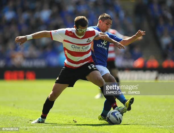 Leicester City's Anthony Knockaert and Doncaster Rover's Gabriel Tamas battle for the ball during the Sky Bet Championship match at the King Power...
